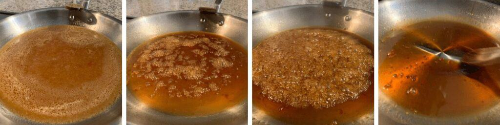 four photos of the honey sesame sauce as it cooks