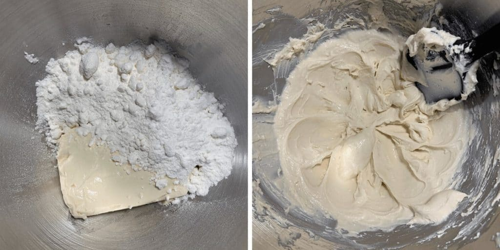 cream cheese and powdered erythritol before and after mixing for frosting