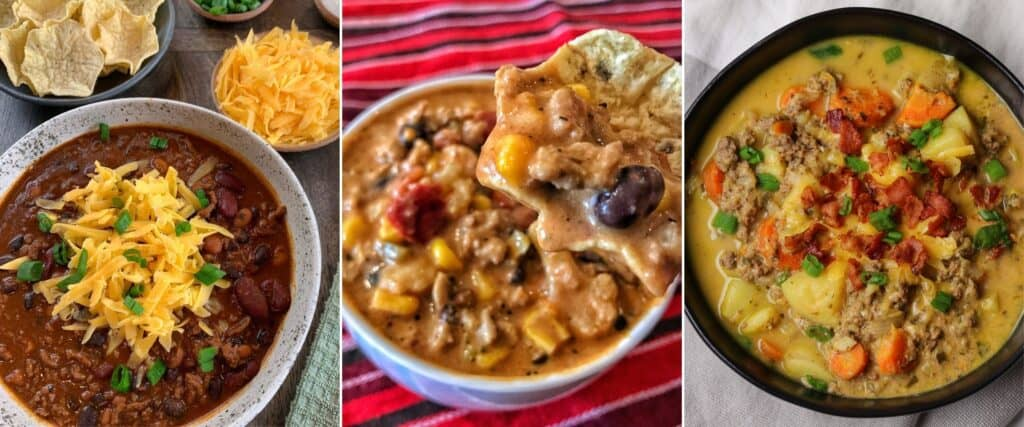 kid friendly ground beef chili, creamy taco soup, cheeseburger soup