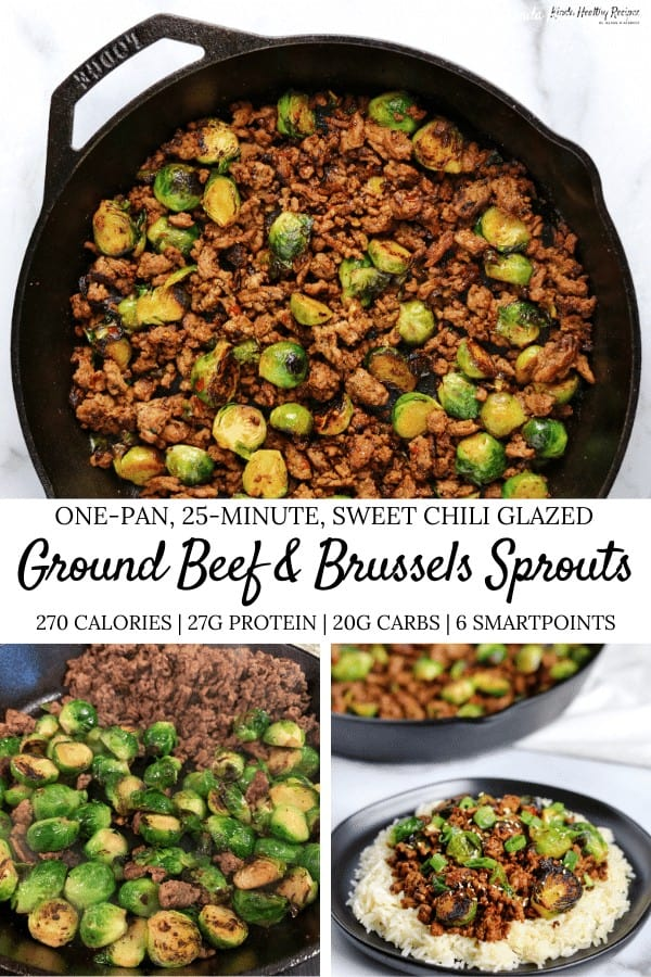 If you're a fan of simple low calorie meals, you'll love this sweet chili ground beef and brussels sprouts skillet. You'll only need 4 ingredients (not counting spices) and one pan!