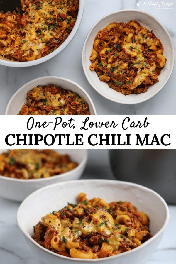 A 30-minute pressure cooker chili mac recipe with lean ground beef, low carb chickpea pasta, chipotle peppers, and shredded cheddar. Every massive serving has 29 grams of protein with only 27 grams of carbs and 325 calories!