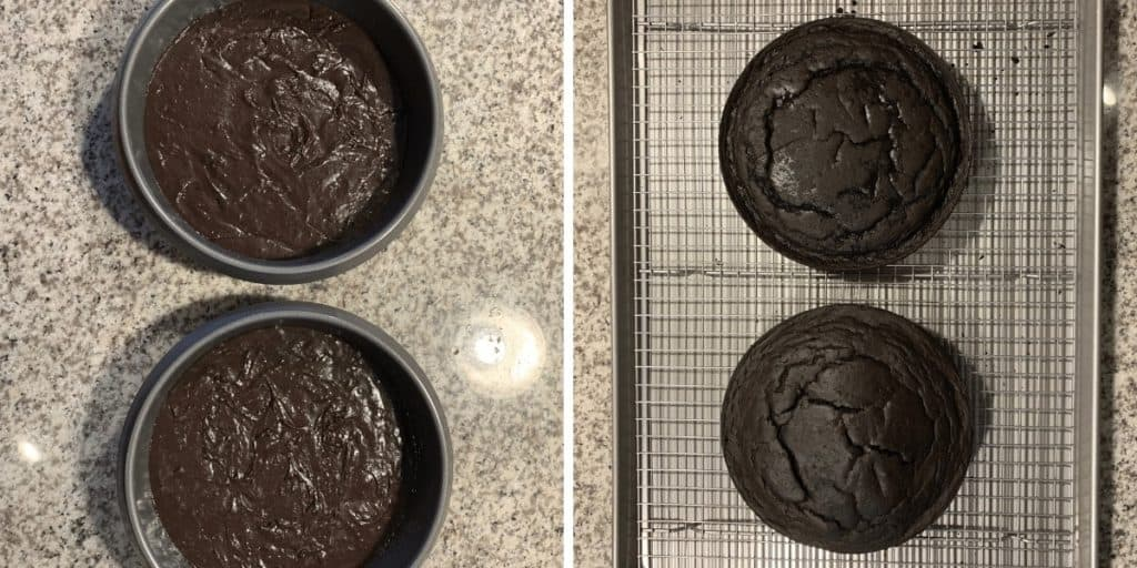 oreo protein cake before and after baking