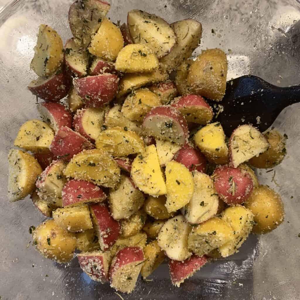 rosemary parmesan potatoes before air frying