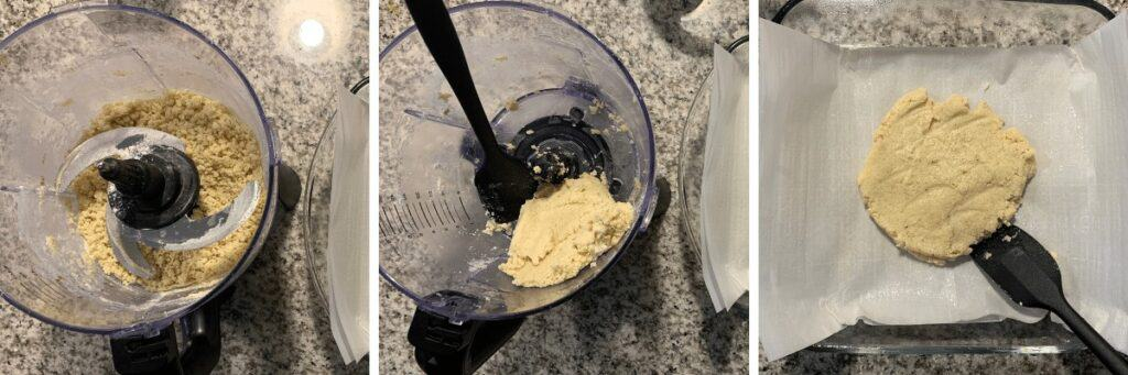 making the cookie dough in a food processor and spreading in a baking dish
