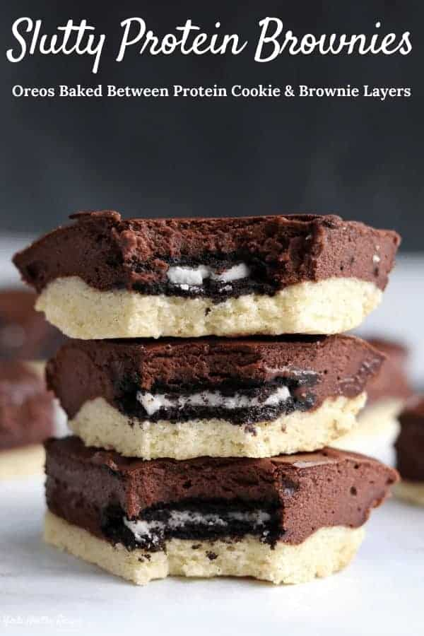 One of the best protein powder dessert recipes you'll come across! These slutty protein brownies sandwich Oreos between protein sugar cookie dough and fudgy protein brownie batter. Each brownie has 10 grams of protein and only 20 grams of carbs!