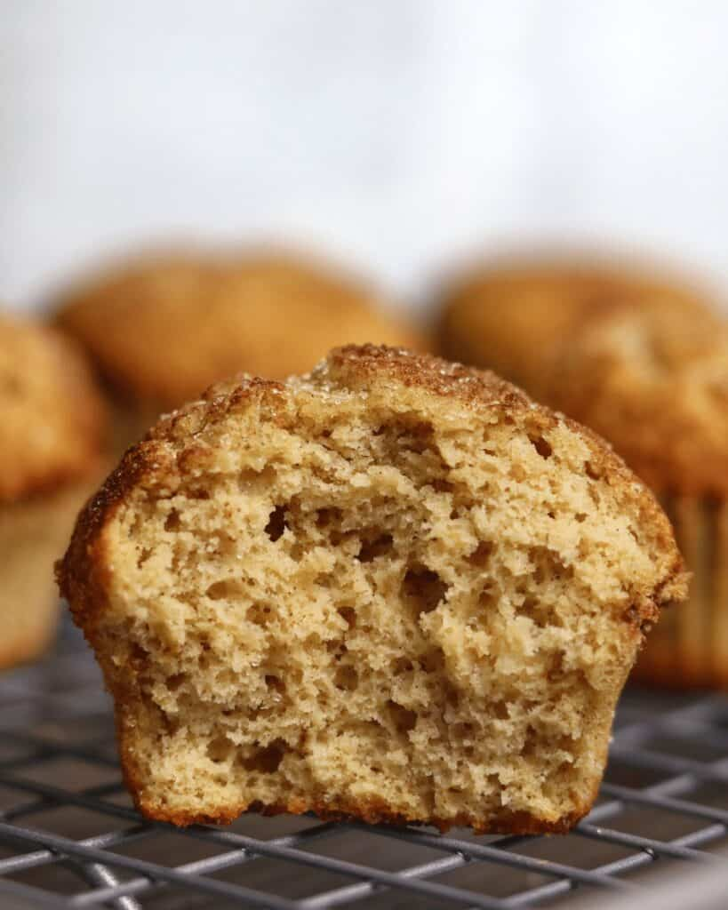 inside a snickerdoodle muffin