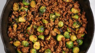 Sweet Chili Ground Beef and Brussels Sprouts Skillet
