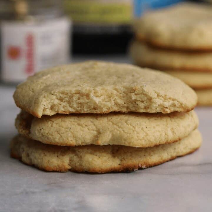 vanilla bean protein sugar cookies stacked