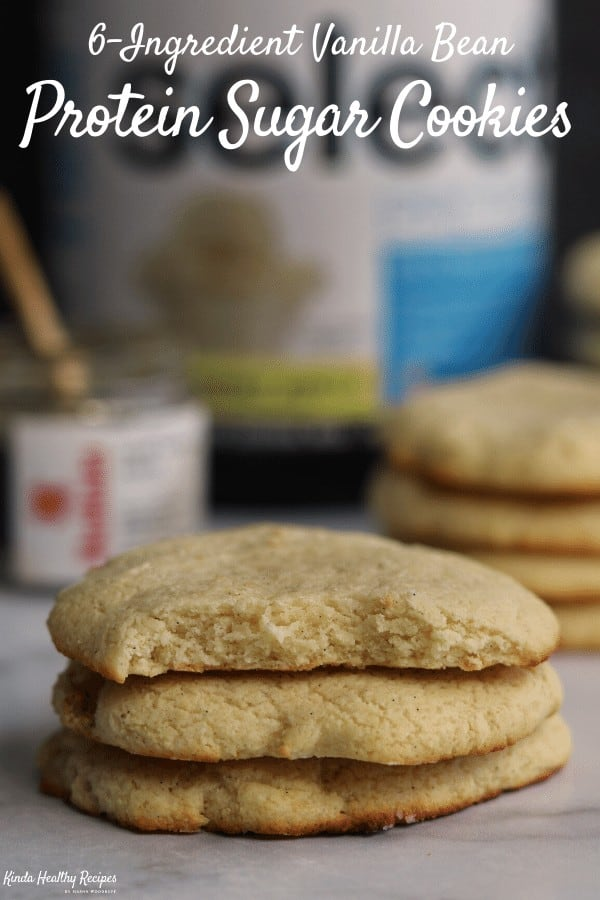 You'll love these melt in your mouth protein sugar cookies. The recipe only calls for 6 ingredients, doesn't require chilling the cookie dough, and can be prepped in a food processor. And each cookie has 7 grams of protein with just 7 grams of carbs!