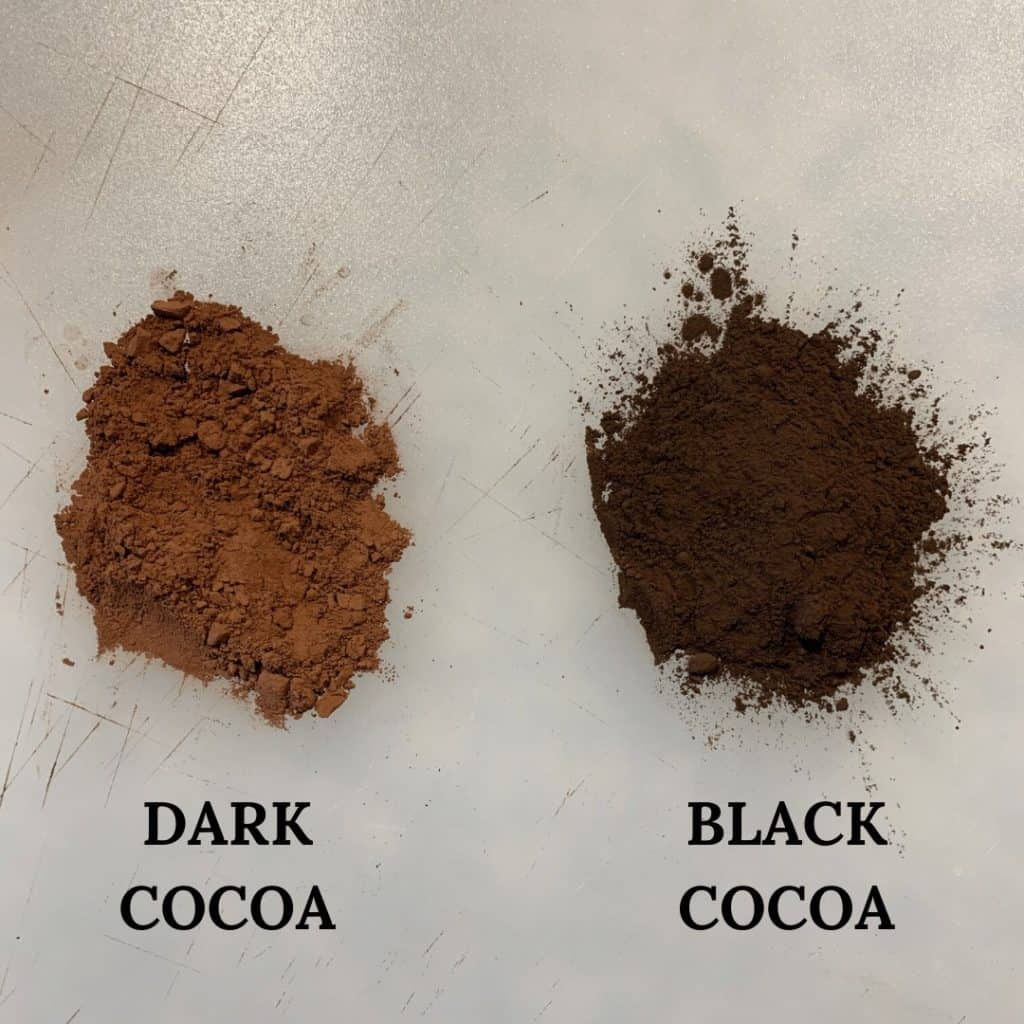 black cocoa powder next to dark cocoa powder