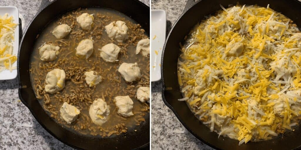 adding egg whites and crescent rolls to sausage and topping with cheese before baking