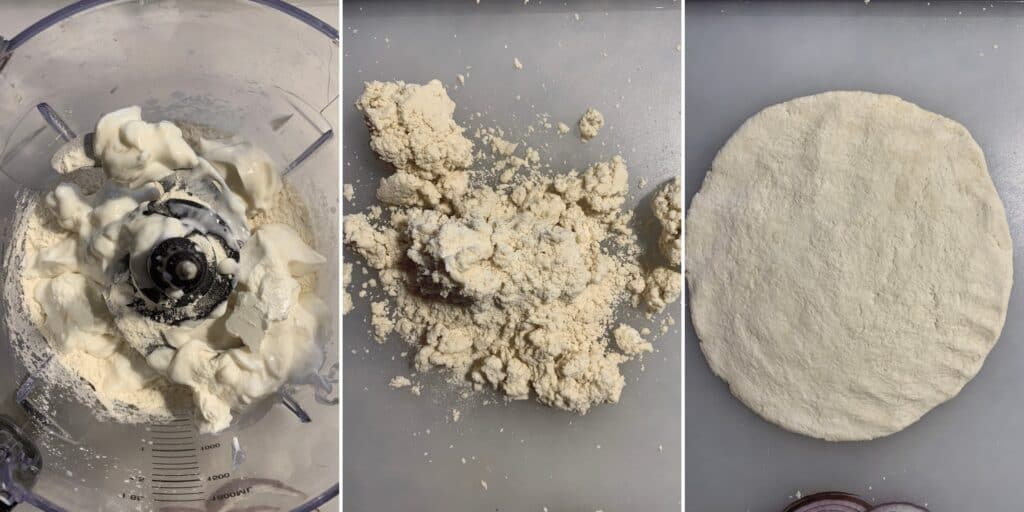 all purpose flour, salt, and greek yogurt in a food processor to make pizza dough