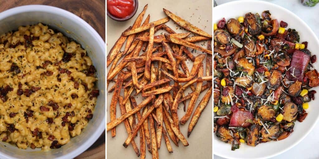 bacon mac and cheese, cajun fries, and crispy brussels sprouts