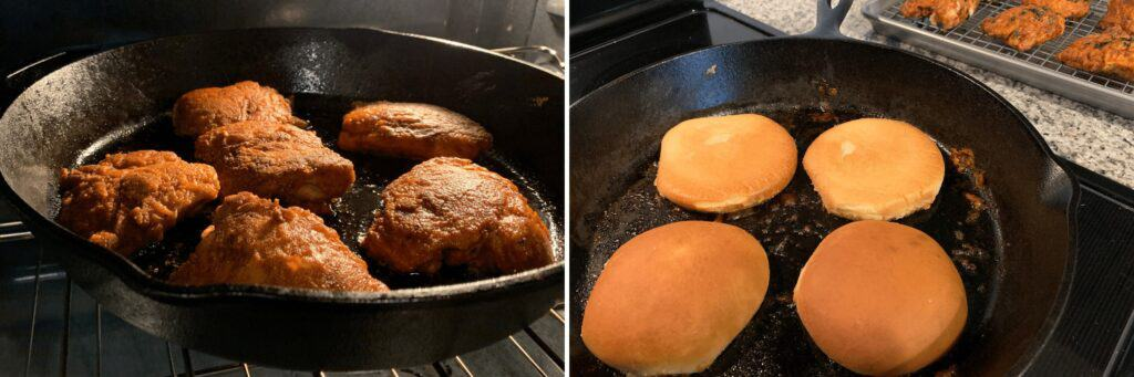 baking the crispy chicken and toasting buns in the cast iron skillet