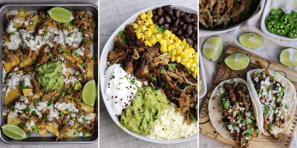 carnitas nachos, carnitas burrito bowl, and carnitas tacos