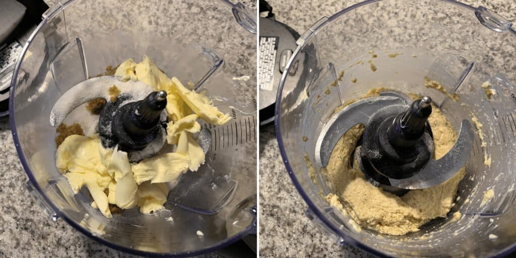 butter, sugar, brown sugar, and vanilla in a food processor
