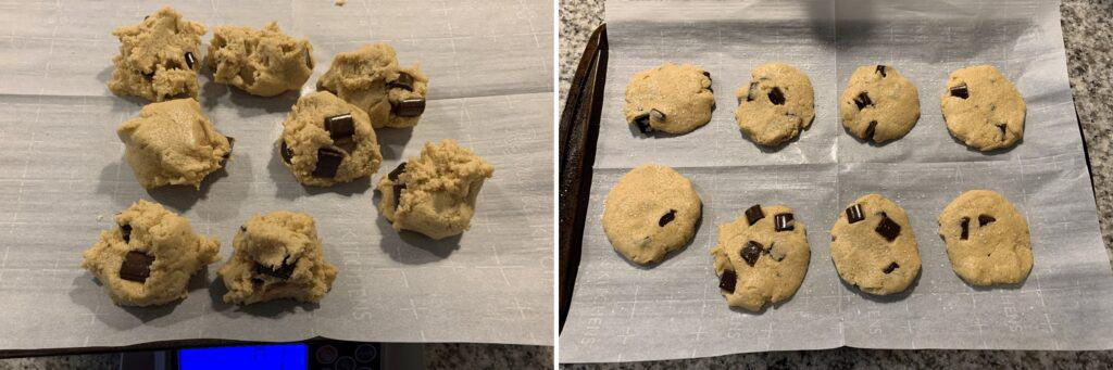 weighing the cookie dough balls and pressing them to flatten before baking