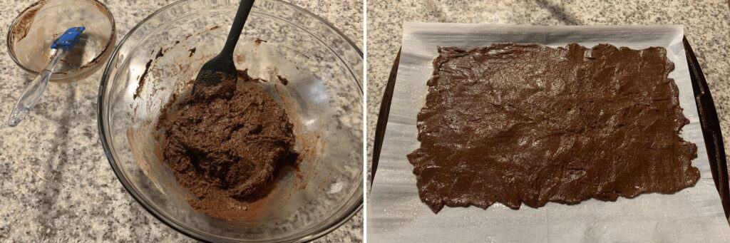 the protein brownie batter before and after spreading on the baking sheet
