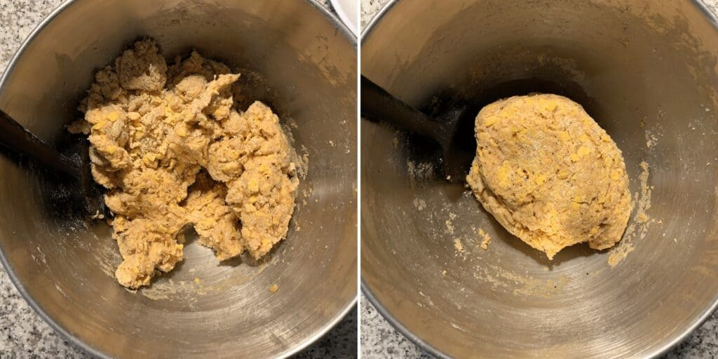 chicken sausage balls mixture in a stand mixer before forming individual balls