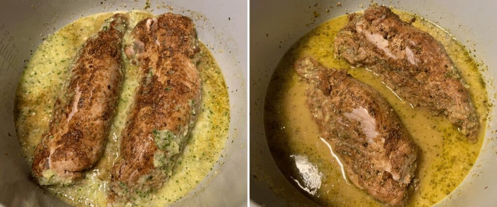 pork tenderloin carnitas before and after pressure cooking