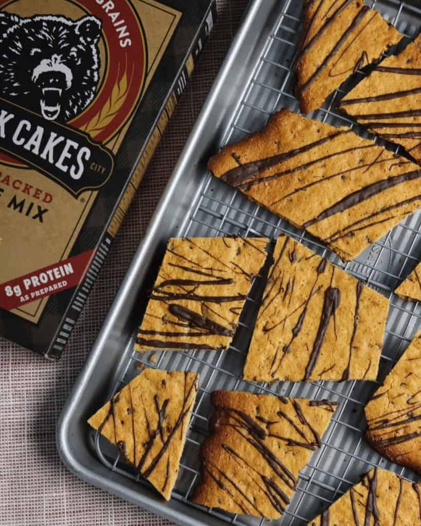 protein brownie brittle made with kodiak cakes blondie brownie mix