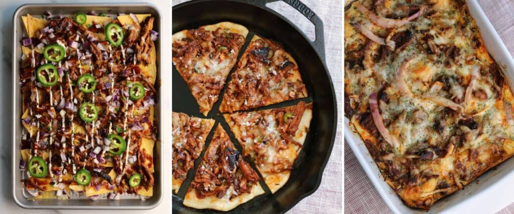 pulled pork nachos, pulled pork pizza, and pulled pork breakfast casserole