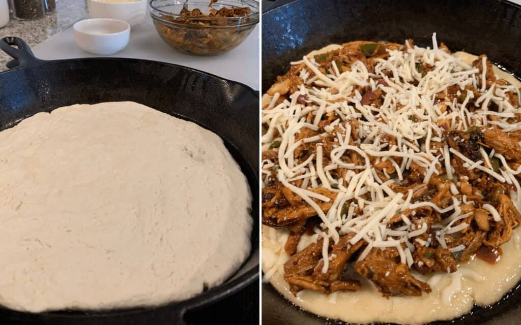 pulled pork pizza in a cast iron skillet before baking