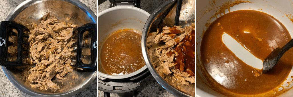 reducing the sauce for pulled pork using the Ninja Foodi sauté function