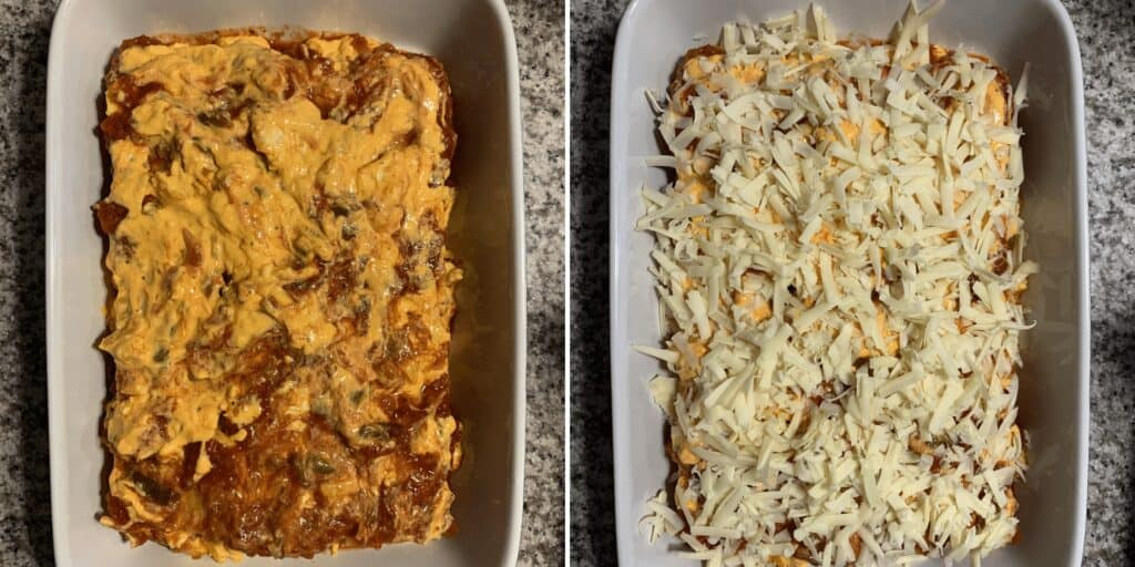 breakfast lasagna topped with queso, salsa, and cheese before baking