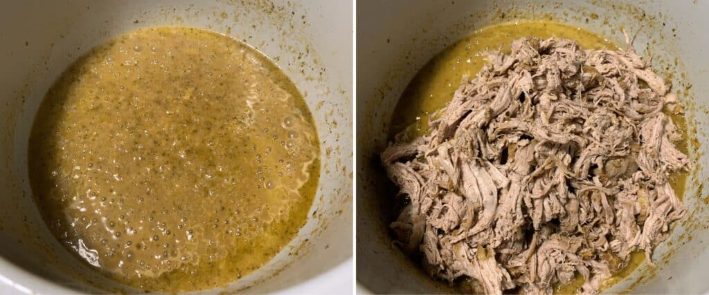shredded pork carnitas and the reduced sauce