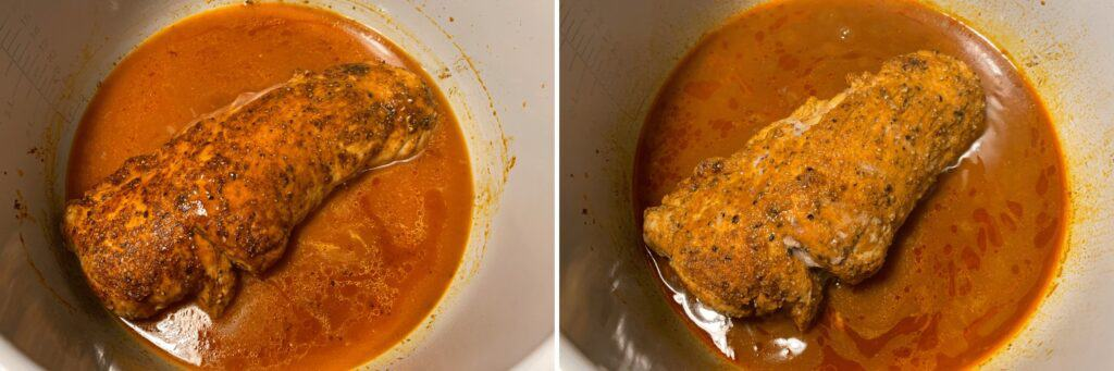 the pork tenderloin before and after pressure cooking