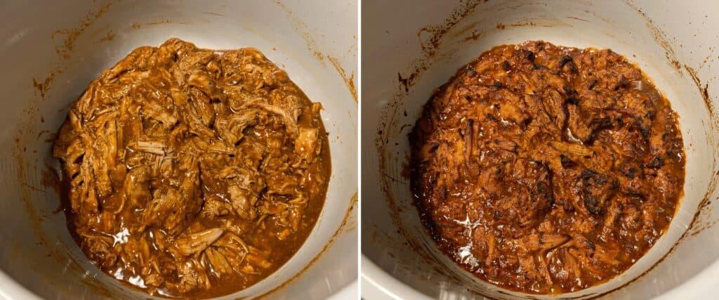 using the ninja foodi broil function to crisp pulled pork