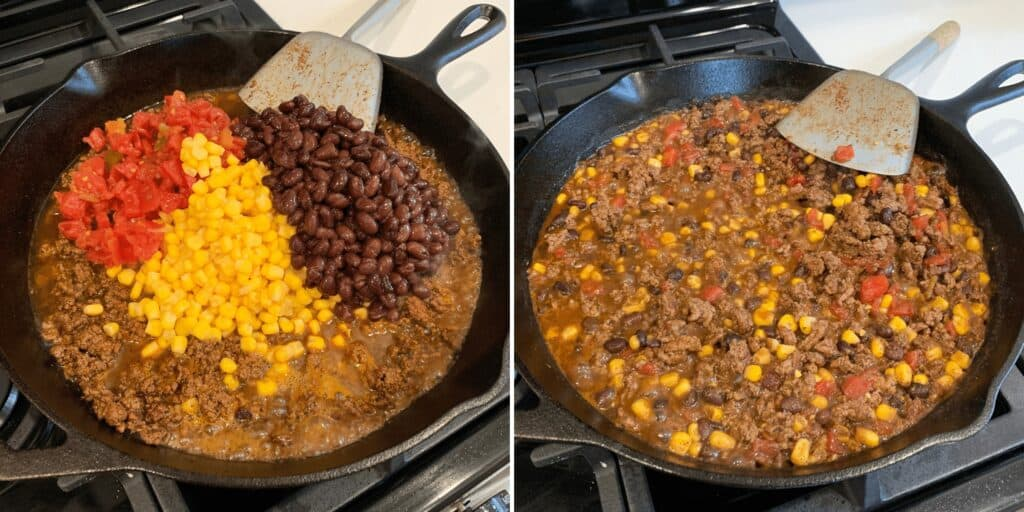 adding the black beans, corn, and RO-TEL to the ground beef