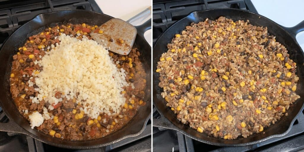 adding the rice to the ground beef skillet