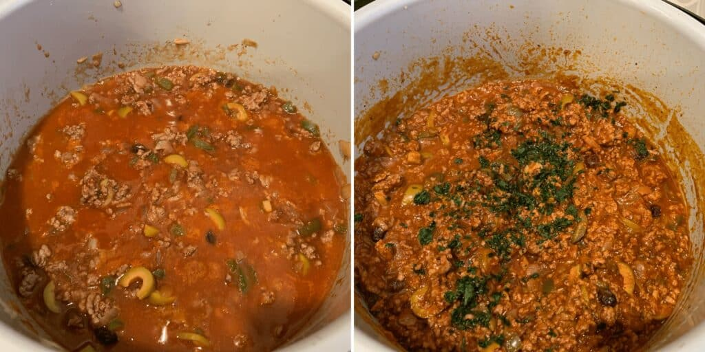 before and after pressure cooking the picadillo