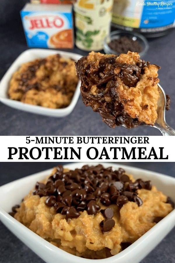 All your favorite Butterfinger flavors inside a bowl of ooey gooey protein oatmeal with 21 grams of protein and only 250 calories per bowl. This recipe is perfect as a quick breakfast or late night snack to curb your sweet tooth!