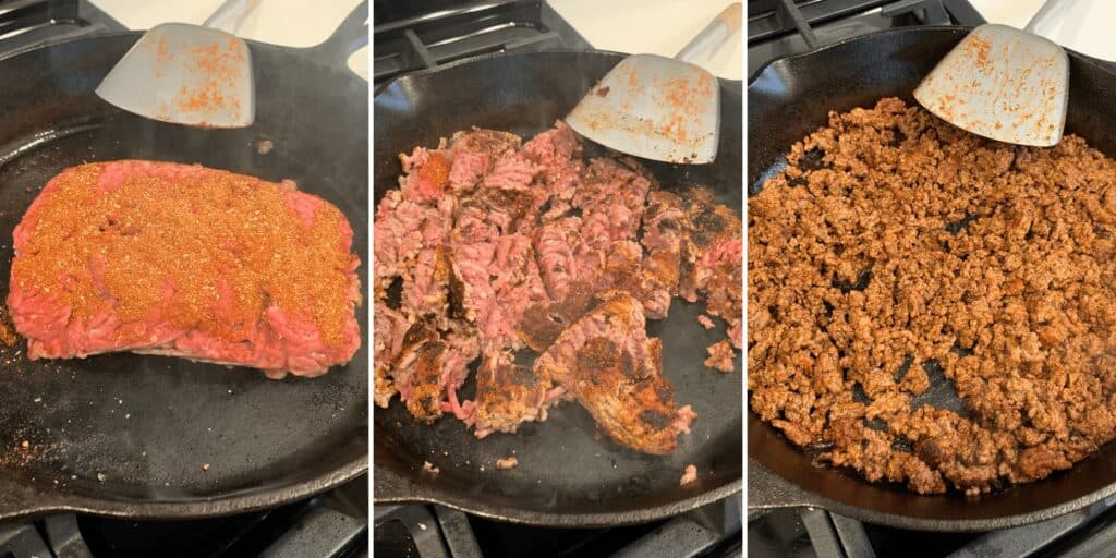 cooking the seasoned ground beef in a cast iron skillet