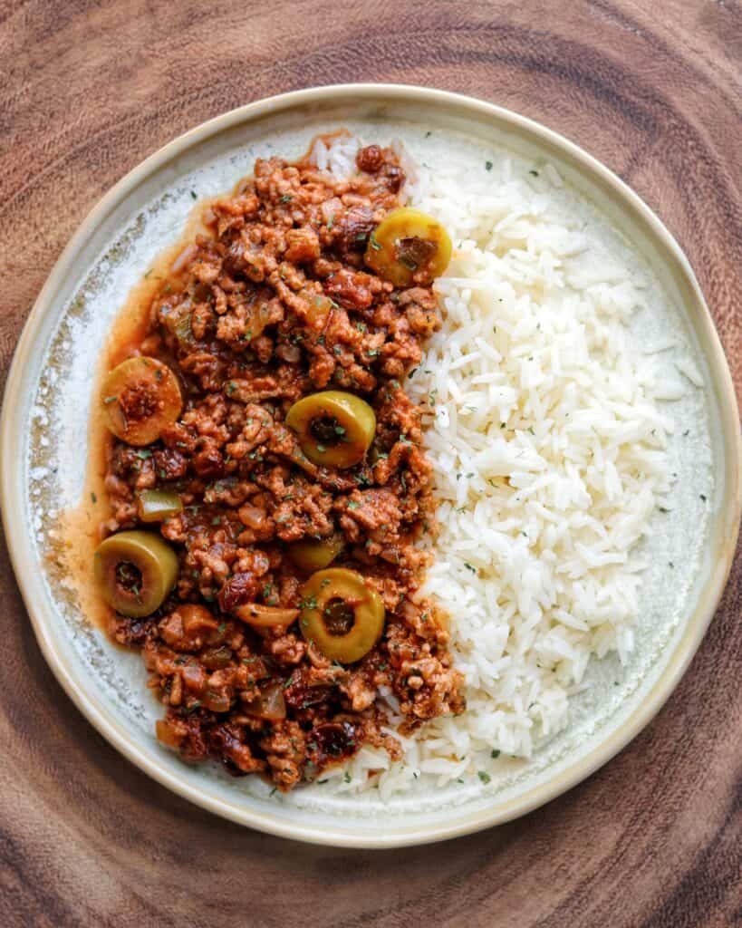 picadillo on a plate with rice
