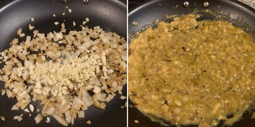 onion and garlic in a pan before adding diced green chiles and cream of chicken soup