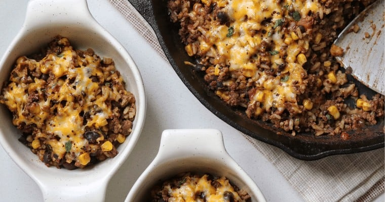 Tex-Mex Ground Beef and Rice Skillet