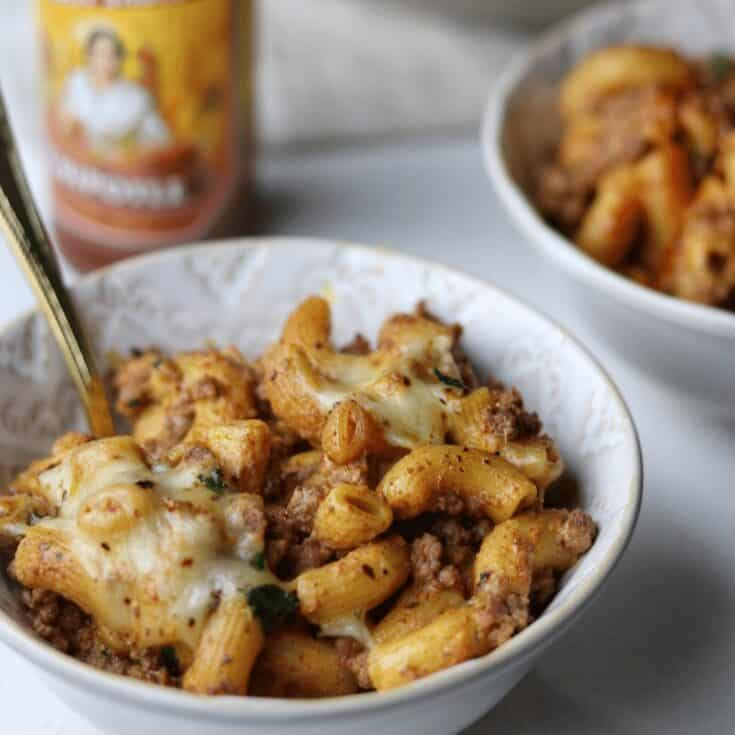 Queso Mac and Cheese with Spicy Ground Beef