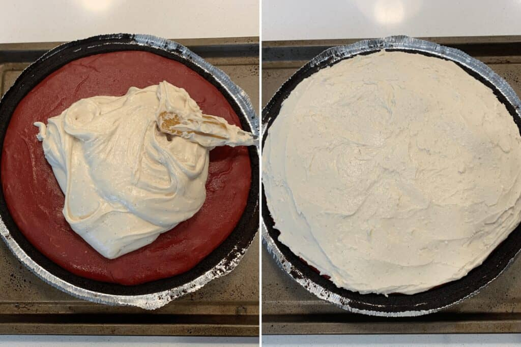 red velvet cheesecake with frosting