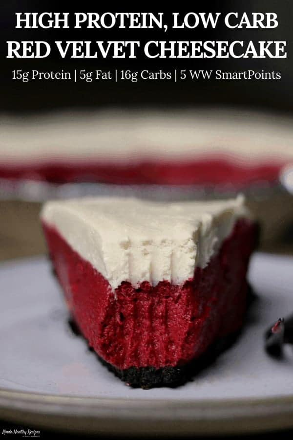 Perfect for the fitness loving Valentine in your life, this red velvet cheesecake has 15 grams of protein with just 16 grams of carbs and 165 calories per slice!