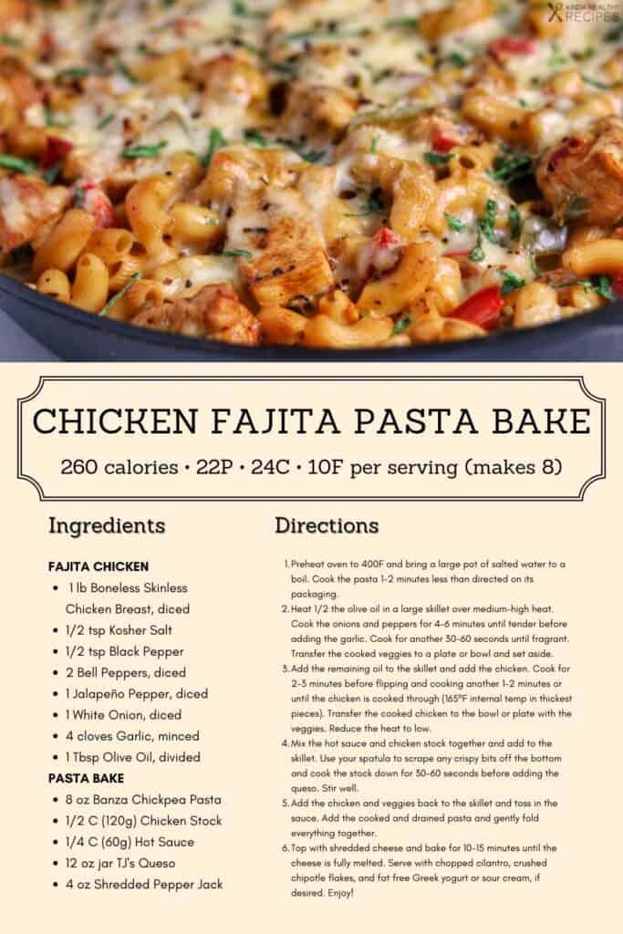 fajita chicken pasta bake recipe infographic
