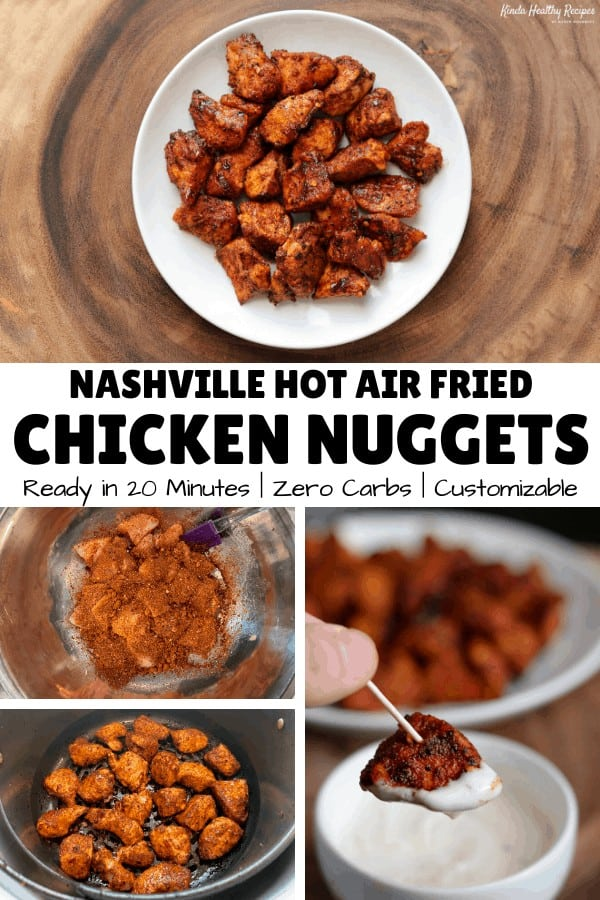A simple recipe for hot and spicy air fryer chicken nuggets that have 25 grams of protein, 0 grams of carbs, and 130 calories per serving! Recipe includes a low calorie ranch dip and sides like air fried carrot fries and cauliflower gnocchi!