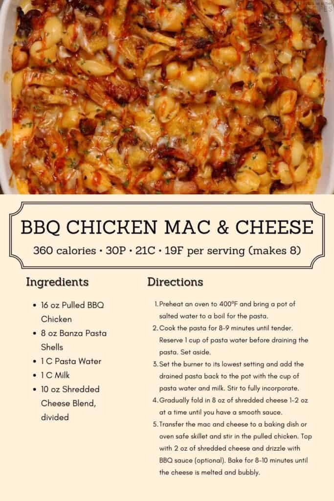 bbq chicken mac and cheese recipe infographic