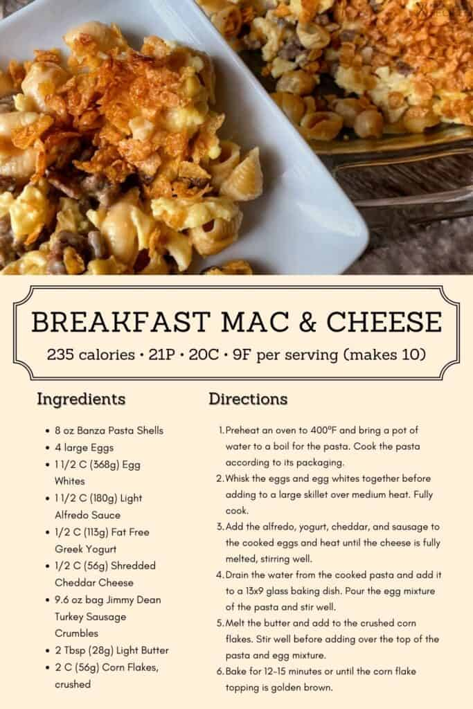 breakfast mac and cheese recipe infographic