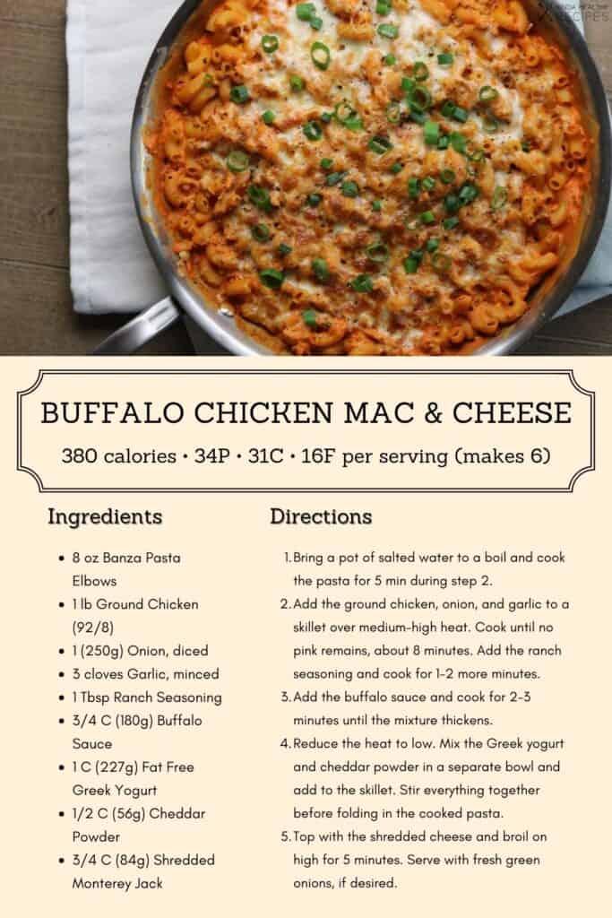 buffalo chicken mac and cheese recipe infographic