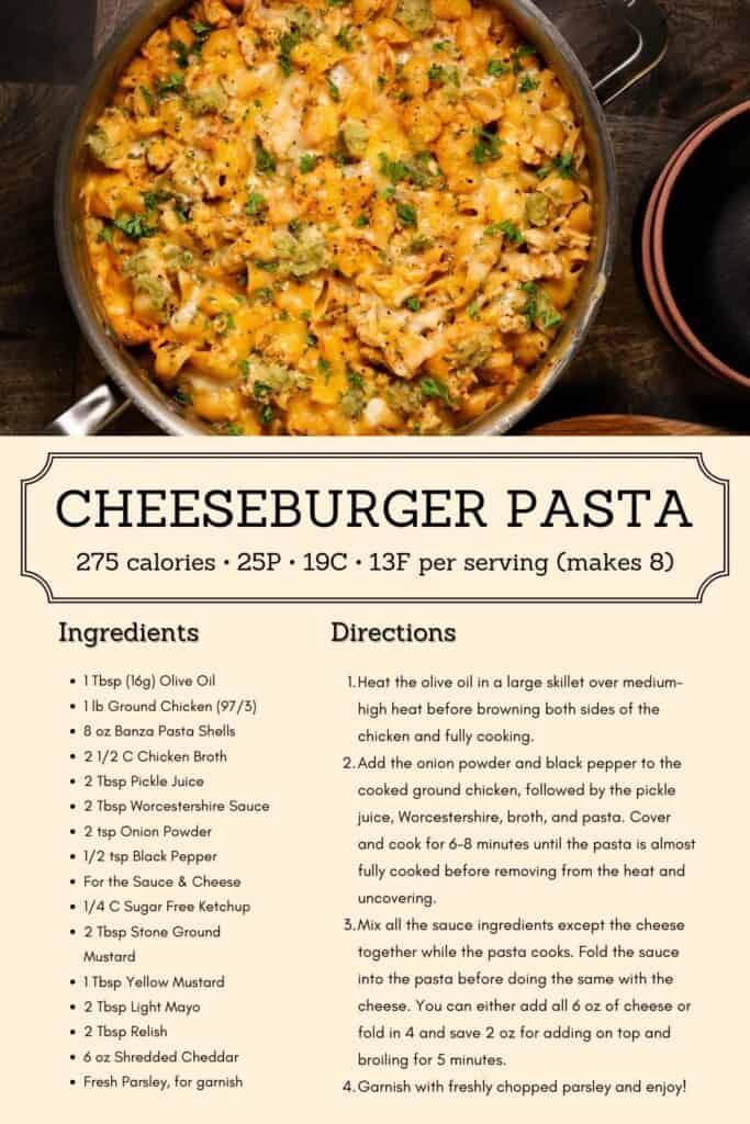 cheeseburger pasta recipe infographic
