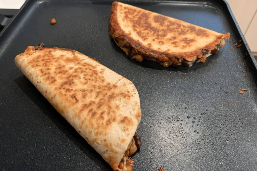 finished quesadillas on the griddle